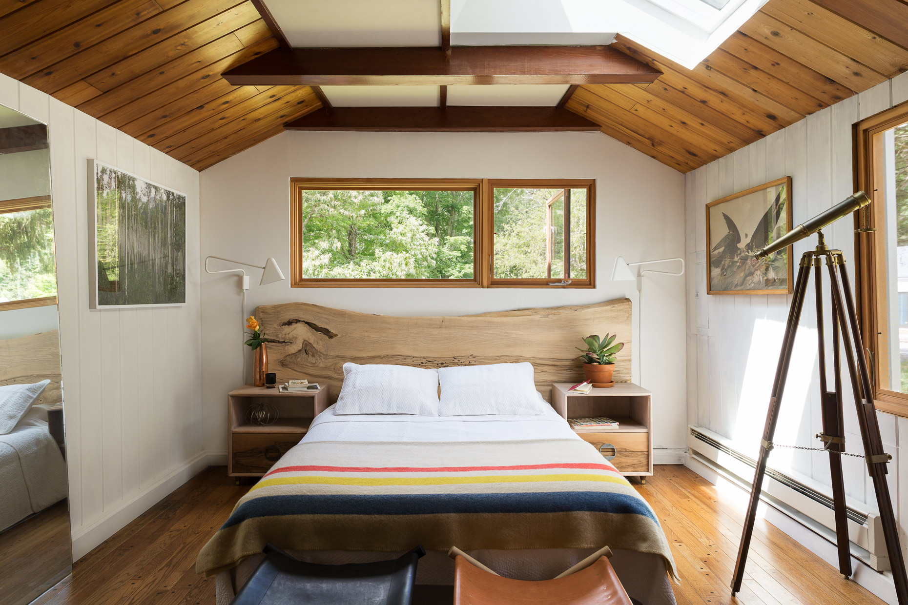 BALL & ALBANESE | An editorial interior image of a cabin bedroom